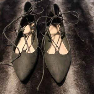Olive green lace up flat
